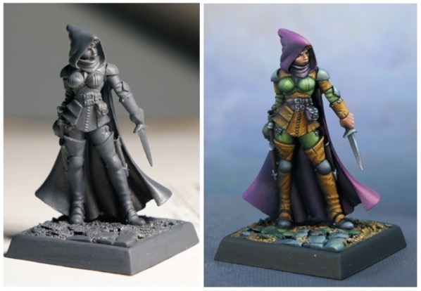 Lighting on primed figure compared to painted figure.