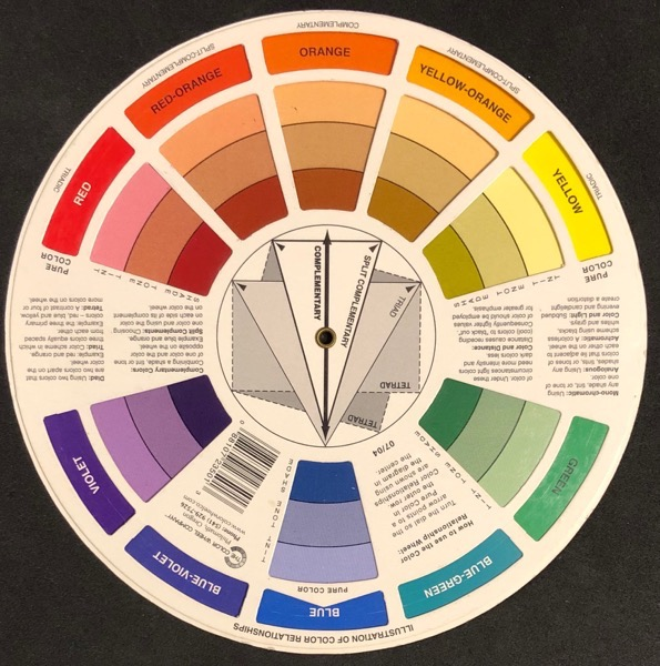 Colour wheel showing red through yellow analogous colour scheme