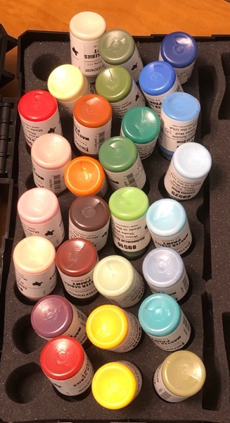 Paint bottles from Pathfinder paint set #1
