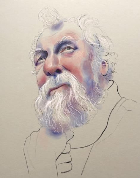 Digital painting of older man