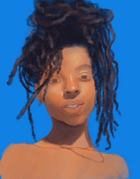 In-progress painting of a young woman